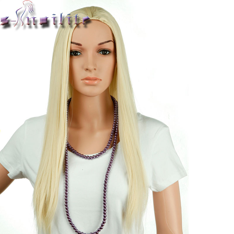 S noilite Real Natural Ladies 25 Long Straight Half Wig Heat Resistant Black Brown Blonde Synthetic