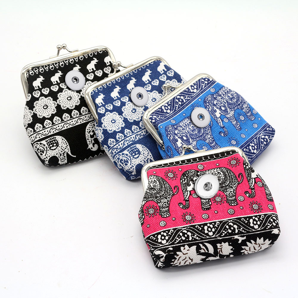Elephant Pattern Coin Purses Small Wallets Pouch Portable Money Bags 18MM Snap Buttons Jewelry For Gift BL0010 Fittings