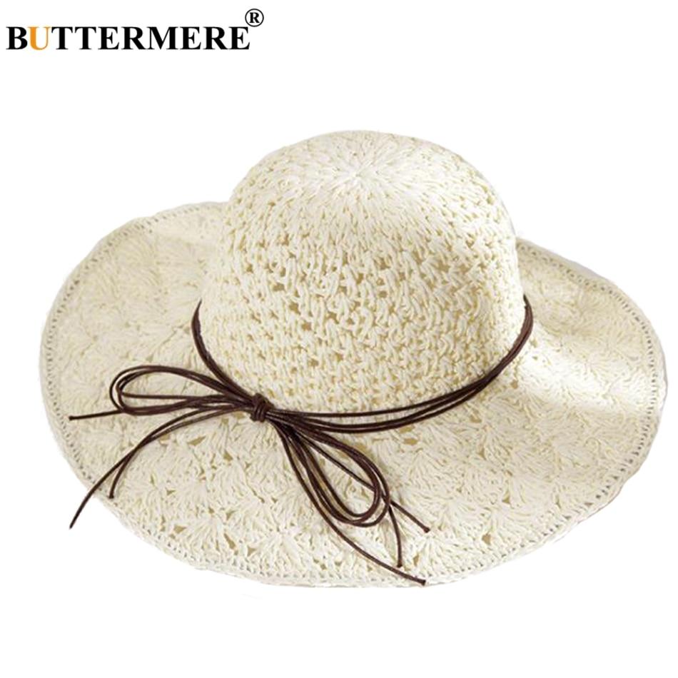 BUTTERMERE Sun Hat Women Straw White Crochet Beach Cap Female Folding  Hollow Uv Bowknot Wide Brim a4632188e2dd