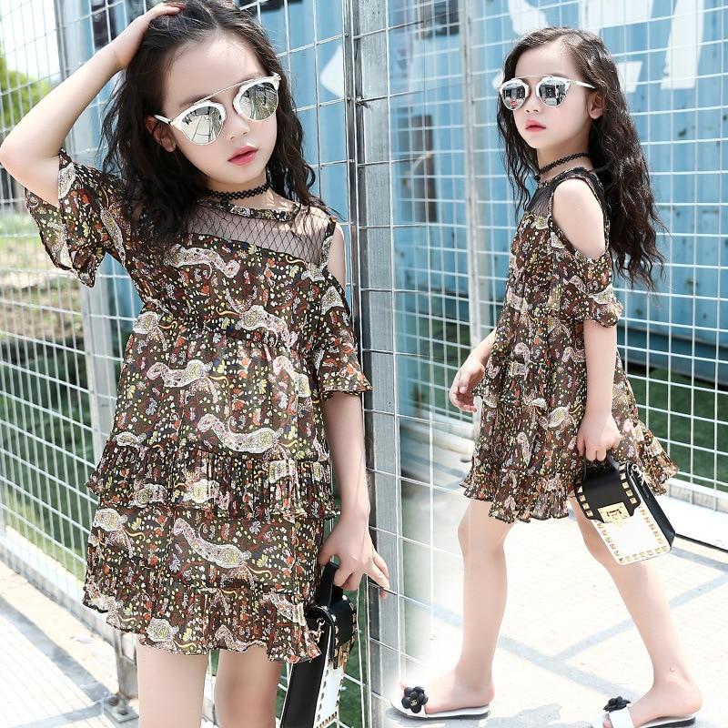 Girls Summer Dress 2018 Brand Floral Party Children Dresses 7 10 14 Years Old Chiffon Girls Dress Kids Girls Clothes PWY01