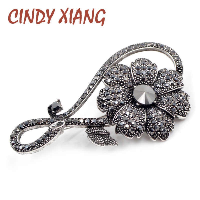 Cindy Xiang Berlian Imitasi Hitam Bunga Bros untuk Wanita Vintage Elegan Besar Bros Pin Musim Dingin Mantel Sweter Bros Kualitas Tinggi