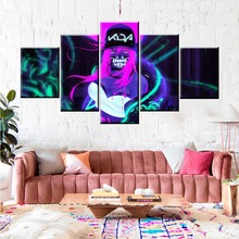 5 Panel LOL League of Legends Akali K/DA Game Canvas Printed Painting For Living Room Wall HD Picture Artworks Poster Wholesale