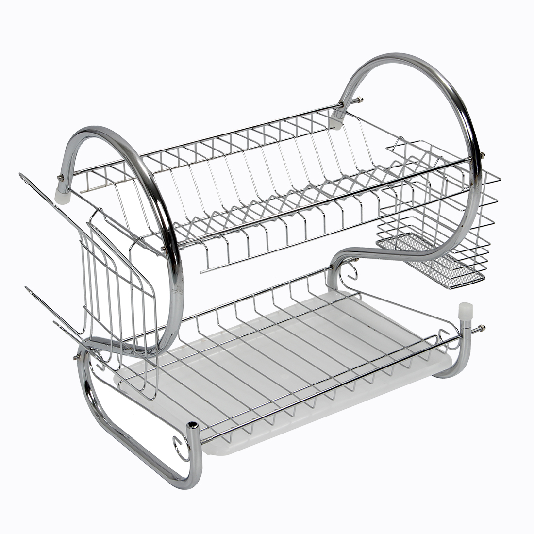 New 2 Tier Chrome Plate Dish Cutlery Cup Drainer Rack Drip