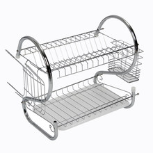 New 2 Tier Chrome Plate Dish Cutlery Cup Drainer Rack Drip Tray Plates Holder(China)