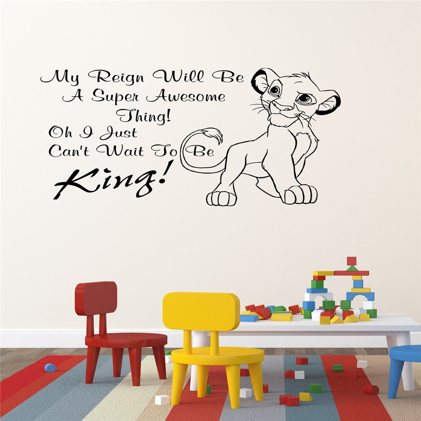 US $5.59 |2018 new Lion King Simba Childrens Bedroom Wall Sticker Wall Art  Decal Home Decor Removable Wall Vinyl Sticker D185-in Wall Stickers from ...