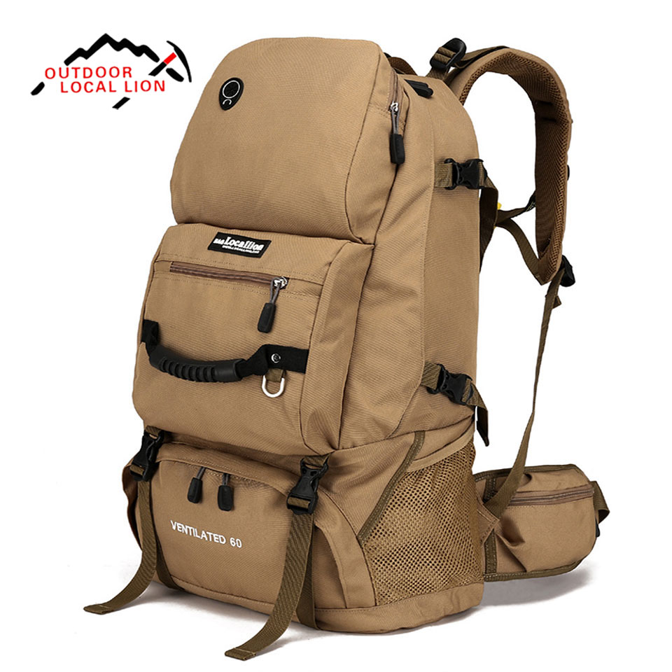 LOCAL LION 60L Outdoor Mountainteering Backpack Men Sports Climbing Bag Moutain Bag Backpack Waterproof Camping Hiking Rucksack local lion spo464 outdoor cycling climbing ultra light breathable double shoulder bag backpack red
