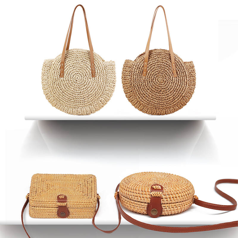 Simple Straw Round Women shoulder bag Handmade Woven Bohemian Women Handbag Summer Beach Lady wicker rattan bag Large capacity