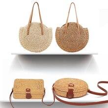 Simple Straw Round Women shoulder bag Handmade Woven Bohemian Women