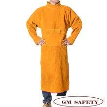 Комбинезон из воловьей кожи для мужчин и женщин, огнестойкая сварочная одежда с карманом для работы по дереву, NL003