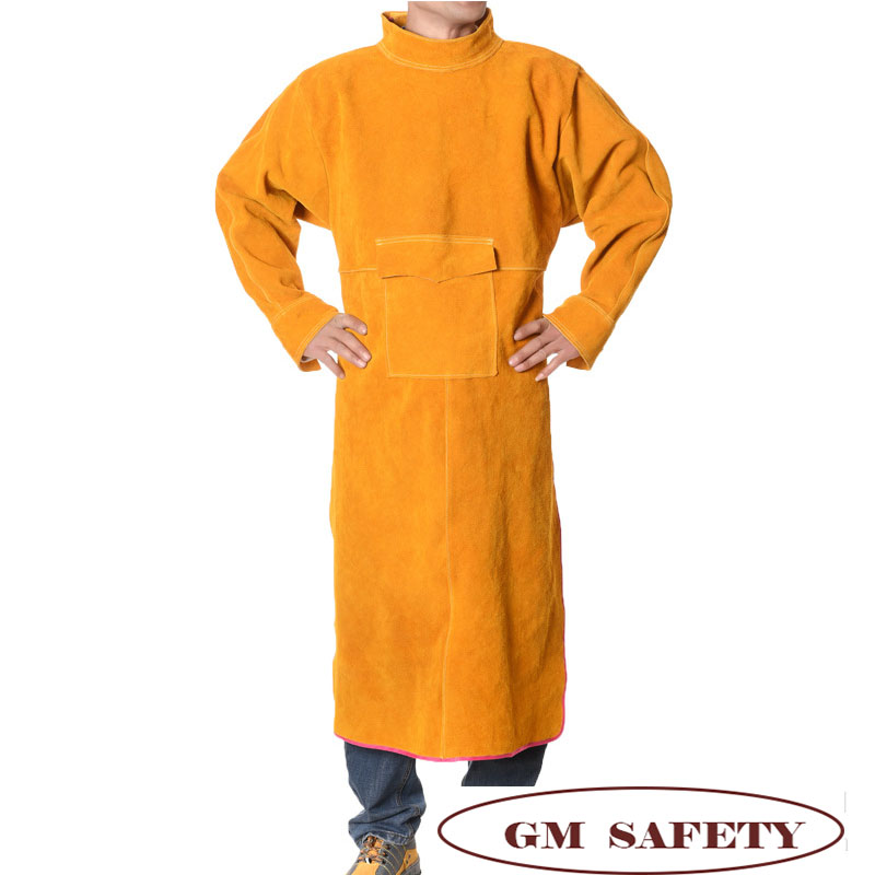 Men Working Cow Leather Coverall  Flame Resistant Leather Welding Clothes With Pocket For Men/Women For Woodwork NL003