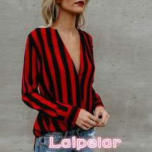 Vertical Stripe Blouse Black Red Slim Deep V Neck Sexy Women Tops Fall 2018 Fashion Casual Elegant Plus Size Laipelar