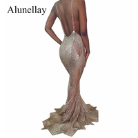 Alunellay Women Evening Party Dresses Long Sequin Sparkle Mermaid Dress Women Summer Hollow Out Sexy Mesh