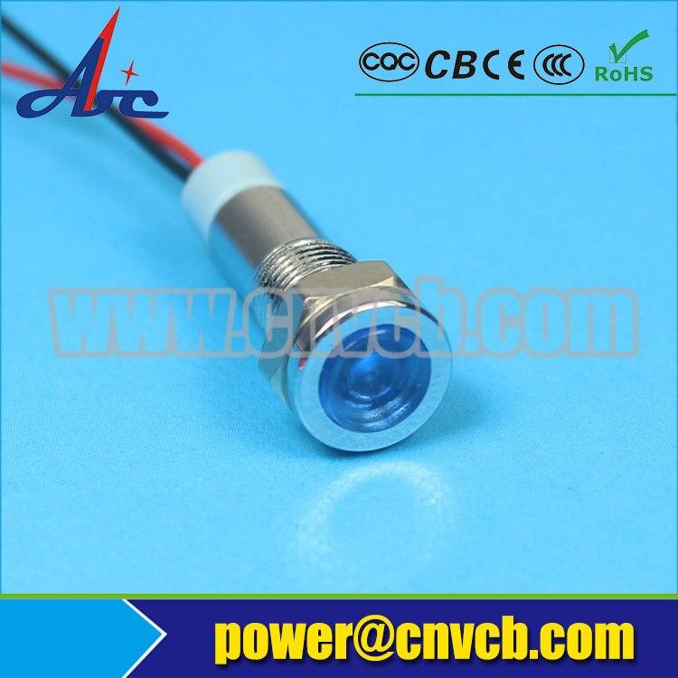 IN120 Diameter 6mm Pilot Indicator flat head Indicator Light metal waterproof 12V BLUE mini signal lamp