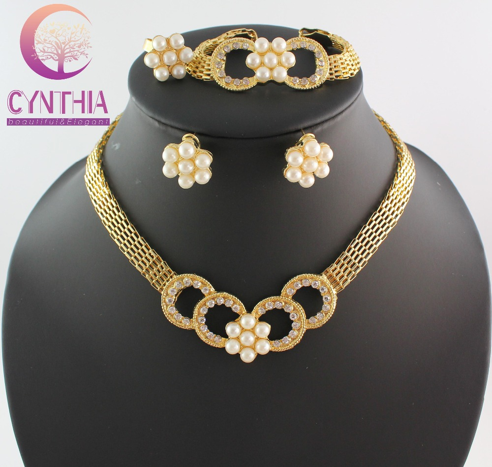 Fashion African Jewellery Set Gold Color Imitation Pearls Jewelry Sets For  Women Wedding Party Wb