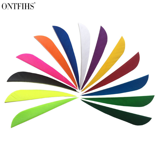 """50pcs ONTFIHS 4"""" Water Drop Parabolic Archery Fletches Feathers Hunting Turkey Feather Arrow Feather Fletchings 4INCH"""
