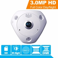 Hikvision 360 Degree View Angle Fish eye CCTV IP Camera DS 2CD6332FWD IV 3MP WDR Fisheye Security Camera Internal speaker & SD