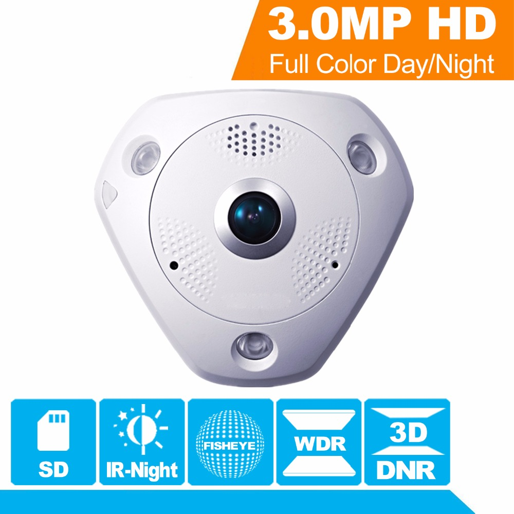 Hikvision 360 Gradi Angolo di Vista Fish-eye Telecamera TVCC ip DS-2CD6332FWD-IV 3MP WDR Fisheye Telecamera di Sicurezza Interna speaker & SD