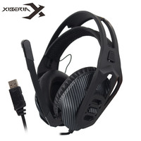 XIBERIA S16 USB Gaming Headset DIY Detachable Virtual 7.1 Surround Sound Stereo Bass Headphones with Microphone for PC Gamer