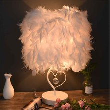 White Table Light Modern Creatives Feather Crystal Lamp e27 Table Lamp for Bedroom Droplight Lighting Decor with EU plug(China)