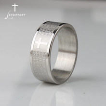 Letdiffery spainner bíblia oração homem anel nunca desaparecer cruz de aço inoxidável carta anéis