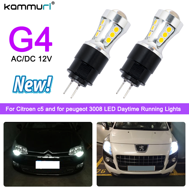 KAMMURI High power No faulty white 6000K led drl light hp24w G4 18smd 3030 18w 12V for peugeot citroen daytime running light free ship g4 hp24w 9w amber white led daytime running lights for cars peugeot 3008 led drl light