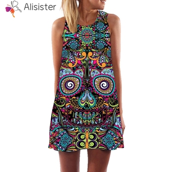 Boho Vacation Women Dress Casual Indie Folk Style Skull Floral Print 3d High Waist Tank Dress Short Vestidos Sundress S-XXL