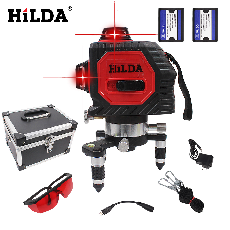 HILDA 12Lines 3D 93T Laser Level Self-Leveling 360 Horizontal And Vertical Cross Super Powerful Red Laser Beam Line Used In door