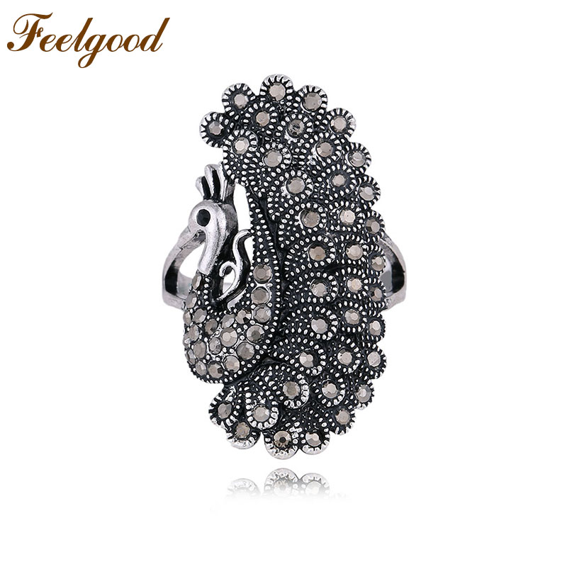 Feelgood Brand New Arrival Antique Silver Color Jewelry Black Crystal Vintage Peacock Animal Rings For Women Anniversary Gift