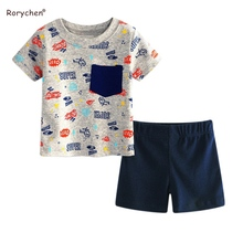 Rorychen Baby Boys Clothing Sets Summer Cartoon Aircraft Car Printing Active Sweatshirts For Babys Costume 6-24M