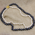 7-8mm natural white freshwater real pearl beads 2 rows strand necklace fashion statement women diy chain jewelry 17-18inch B3240