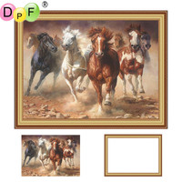 DPF Framed Diamond Painting Diamond Embroidery Cross Stitch Animal Horse Full Round Rhinestone Wall Painting Unique