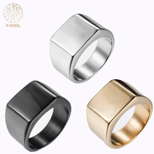 Фотография V-COOL Brand New Fashion Simple Plain Mens Ring Titanium Blank Black Silver Gold Wedding Band Rings Man Jewelry VR035