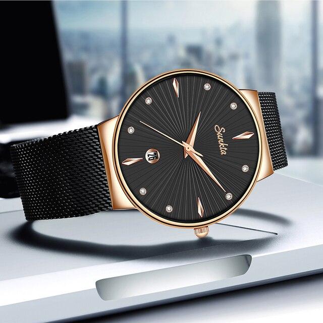 SUNKTA Vrouwen Horloges Top Merk Luxe Dames Mesh Riem Ultradunne Horloge Roestvrij Staal Waterdichte Klok Quartz Horloge Reloj Mujer
