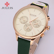 Real Fuctions Thin Lady Women's Watch Swis Quartz Fine Fashion Hours Dress Sport Leather Girl Birthday Gift Julius Box