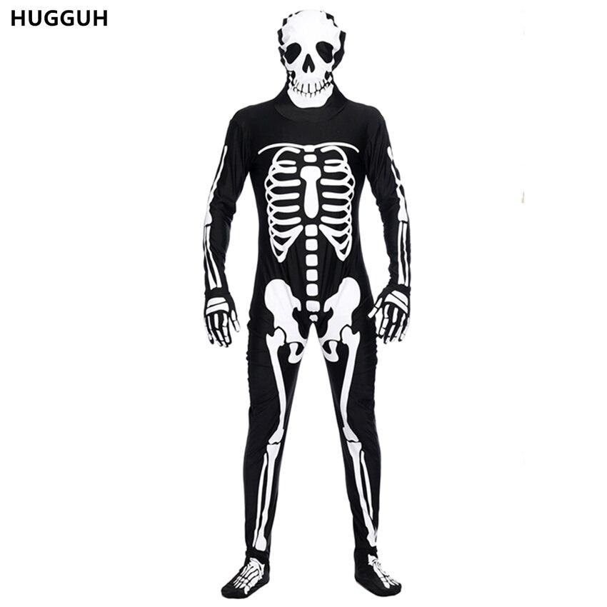 Новый Мужская Одежда Набор Хеллоуин Костюм Череп Скелет Косплей Костюм Мода Стиль Черные Мужские Комбинезоны H168152