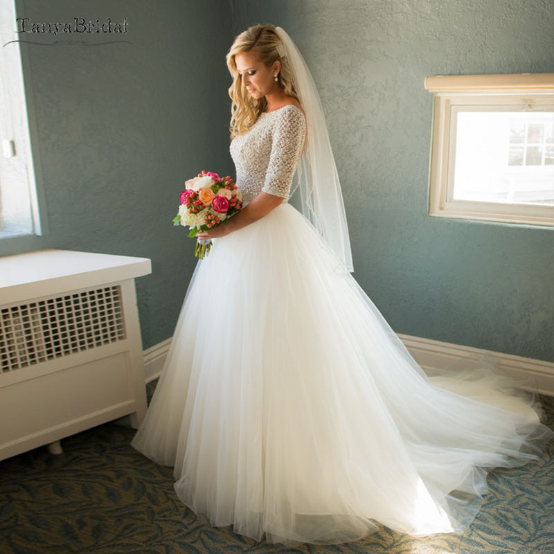 Sparkly Tulle Wedding Dresses Half Sleeve Bling Bling Country Bridal Gowns Many Layers Elegant Noivas DW139