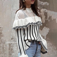 Flare Sleeve Striped Sweater Women Autumn Korean Fashion Shoulder Hollow Out Knitted Ruffle Sweater Pullovers Ladies Jumpers