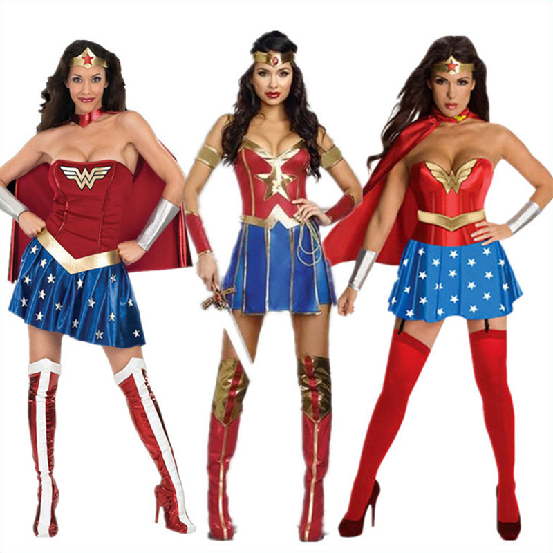 Movie Wonder Woman Cosplay Costume Fancy Dress Halloween Party Super Women Costume Dresses Tops