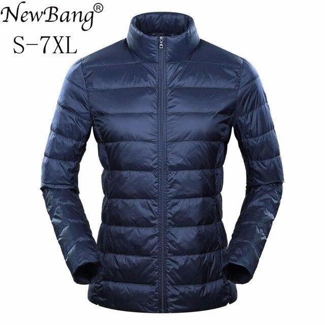 Marca NewBang 6xl 7XL 8XL Plus chaqueta ultraligera para mujer, chaqueta de plumón de pato, cortavientos y ligera, abrigos finos cálidos