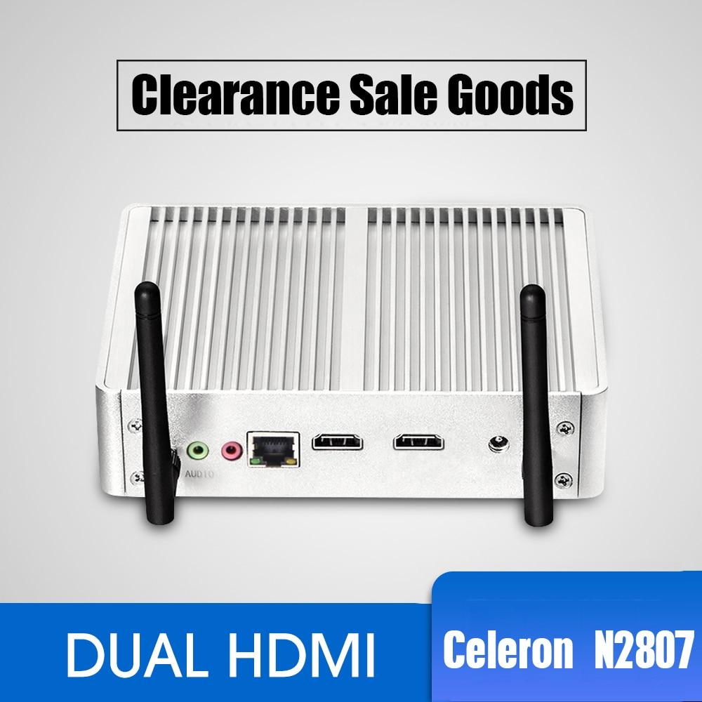 Fanless Mini PC Intel Celeron N2807 Dual HDMI Windows 7 WIFI USB 2*HDMI Mimipc HTPC TV BOX Office Family Mini Computer