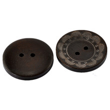100Pcs Round Dark Coffee Flower Pattern Wooden Wood Sewing Buttons 2 Holes Ornaments Scrapbook 30mm(1 1/8)