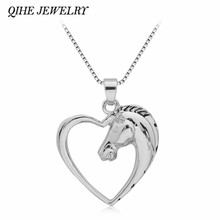 QIHE JEWELRY New Style Heart Horse Pendant Necklace Women Fashion Jewelry Wholesale Christmas Gifts collar(China)