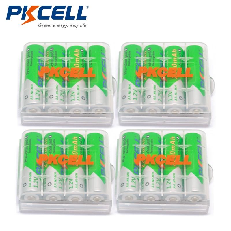 Recarregáveis do aa Ni-mh dos Pces Caixas da Bateria da Auto-descarga de Baterias + 4 Baterias Mah * Pkcell Volt 2a Baixas Pces 16 1.2 v 2200