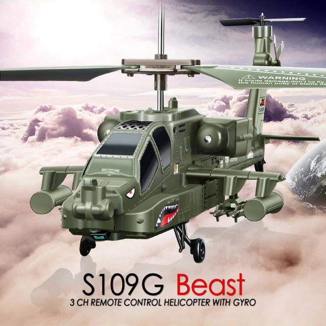 SYMA S109G Mini 3.5CH RC Helicóptero Rádio Brinquedos de Controle Remoto Helicóptero AH-64 Apache Gunships Simulação Indoor para o Presente