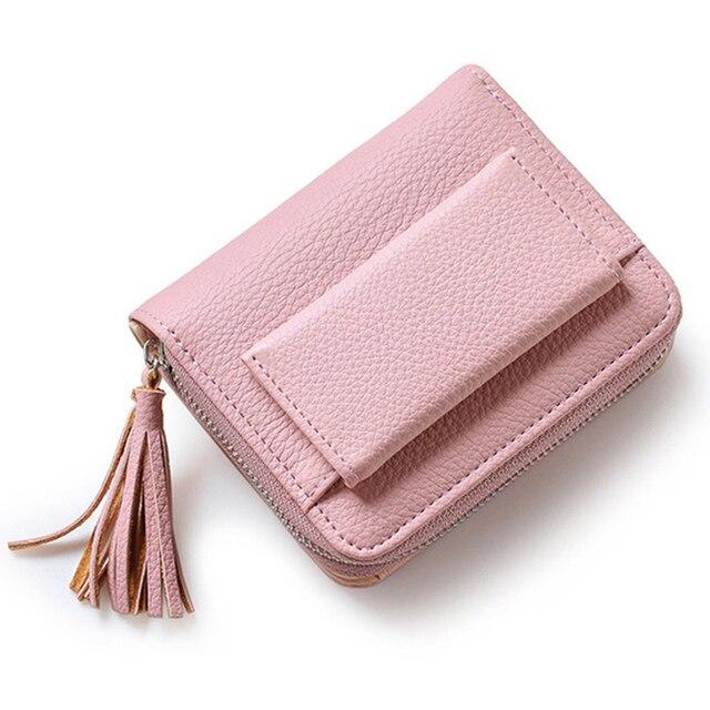 Лидер продаж Мода с короткими кисточками Для женщин кошельки леди мини-держатель для карт кошелек женский кредитных карт Портмоне бренд 3 раза Новинка 2017 года
