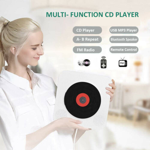 Wall Mounted CD Player Surround Sound FM Radio Bluetooth USB MP3 Disk Portable Music Player Remote Control Stereo Speaker Home 3