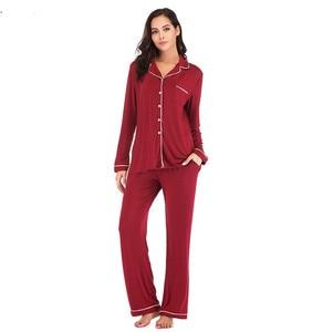 Image 3 - Women Pajama Sets 2 Pieces  Lounge Suit Velvet Elastic Long Sleeves Stretch Sleepwear Pants Tops Satin Silk Pjs Plus Size ouc041