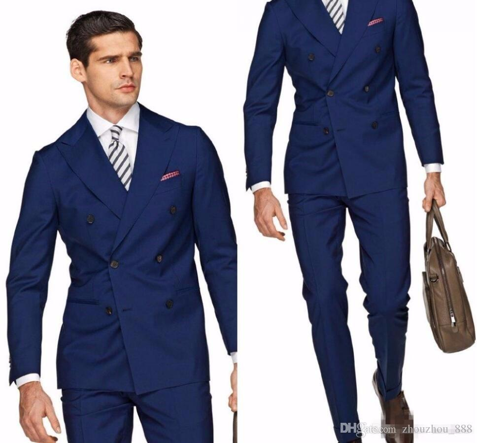 f1fc622e3f99 ... Men Suit Formal Business Slim Fit Tuxedo Wedding Groom Blazer Style Prom  Gentle 2 Piece Jacket+Pant Terno. italian-style-navy-blue -groom-tuxedos-double