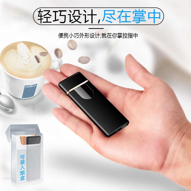 Carregamento USB cigarro mais leve indução Toque eletrônico à prova de vento ultra-fino mais leve personalizado De Metal