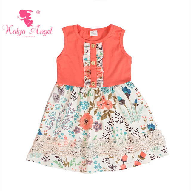 ee4f60fdc18e Kaiya Angel Spring Girl Beach Floral Dresses Yellow Tulips Windmill Flower  Baby Kids Party Princess Clothes Factory Wholesale